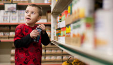 Young boy at a Feeding America food pantry