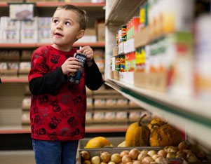 Young boy at Feeding America food pantry